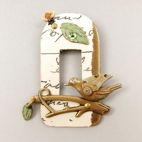 Mullanium,-,Bird,with,Frame,Pin,Bird with Frame Pin, Mullanium pin, Mullanium bird pin, bird pin, mixed media pin, steampunk pin