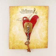 Mullanium - Flying Red Heart with Key Pin - product images 5 of 5