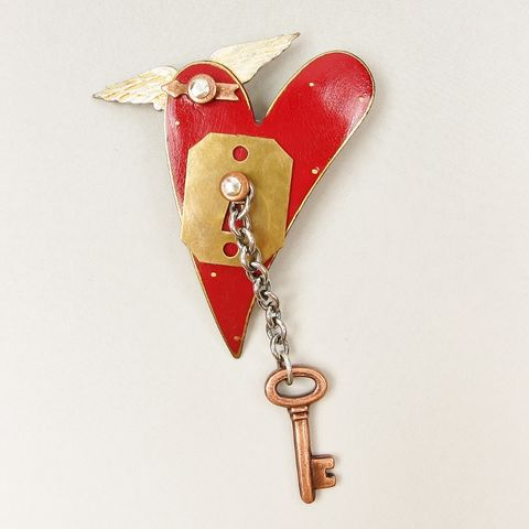 Mullanium,-,Flying,Red,Heart,with,Key,Pin,Flying Red Heart with Key Pin, Mullanium pin, Mullanium Flying Red Heart with Key Pin