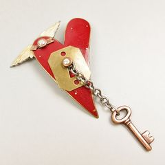 Mullanium - Flying Red Heart with Key Pin - product images 3 of 5