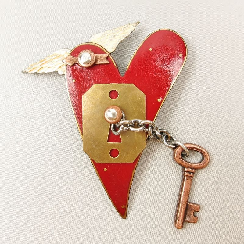 Mullanium - Flying Red Heart with Key Pin - product image