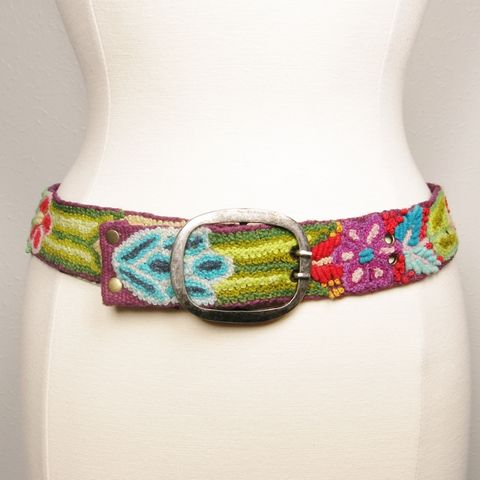 Jenny,Krauss,Floral,Embroidered,Wool,Belt,in,Purple,Jenny Krauss belt, Jenny Krauss peruvian belts, Jenny Krauss Floral Embroidered Wool Belt in Purple