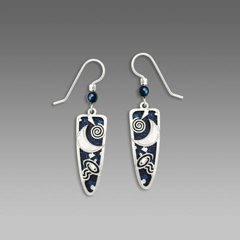 Adajio,Earrings,-,Midnight,Blue,Trowel,Shape,with,Shiny,Silver,Tone,Moon,Overlay,&,Beads,Adajio Earrings, Adajio earrings Sienna Sky, Adajio Jewelry, Adajio Colorado