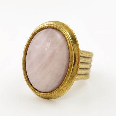 Jan,Michaels,Rose,Quartz,Antique,Brass,Trim,Ring,Jan Michaels, Jan Michaels Rose Quartz Antique Brass Trim Ring, Jan Michaels ring