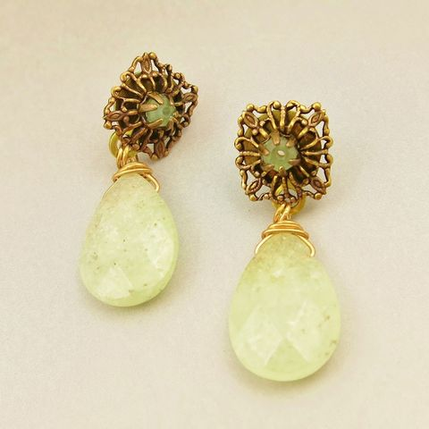 Jan,Michaels,Faceted,Green,Prehnite,Earrings,Jan Michaels Faceted Green Prehnite Earrings, Jan Michaels earrings