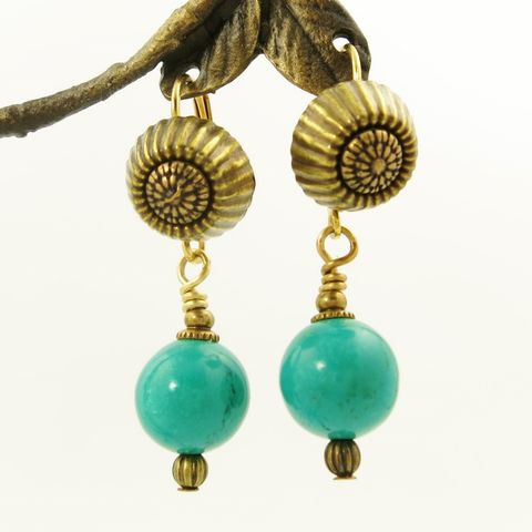 Jan,Michaels,Corrugated,Top,Earrings,in,Turquoise,Jan Michaels Corrugated Top Earrings in Turquoise, Jan Michaels earrings