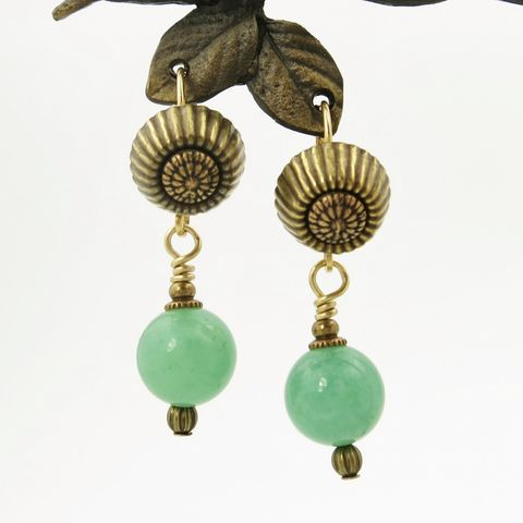 Jan,Michaels,Corrugated,Top,Earrings,in,Green,Aventurine,Jan Michaels Corrugated Top Earrings in Green Aventurine, Jan Michaels earrings