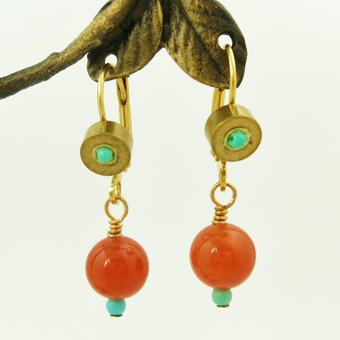 Jan,Michaels,Mixed,Stone,Bead,Earrings,in,Turquoise,&,Red,Aventurine,Jan Michaels Mixed Stone Bead Earrings in Turquoise & Red Aventurine, Jan Michaels earrings