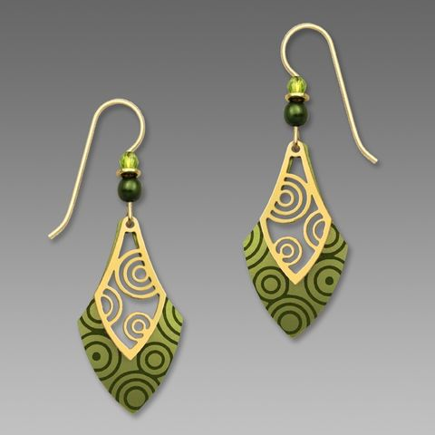 Adajio,Earrings,-,Peridot,and,Pine,Open,Necktie,with,Gold,Plated,Circles,Overlay,Adajio Earrings, Adajio earrings Sienna Sky, Adajio Jewelry, Adajio Colorado