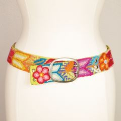 Jenny Krauss Floral Embroidered Wool Belt in Citron - product images 1 of 11
