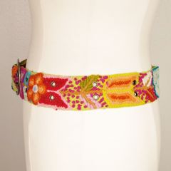 Jenny Krauss Floral Embroidered Wool Belt in Citron - product images 2 of 11