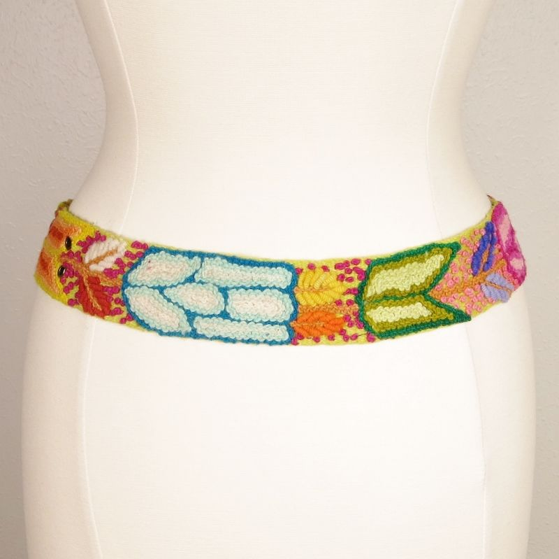 Jenny Krauss Floral Embroidered Wool Belt in Citron - product image