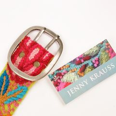 Jenny Krauss Floral Embroidered Wool Belt in Citron - product images 6 of 11