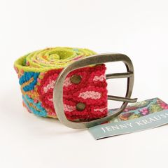 Jenny Krauss Floral Embroidered Wool Belt in Citron - product images 5 of 11