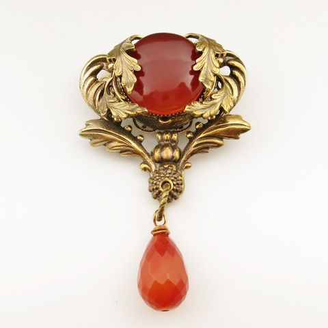 Jan,Michaels,Crest,Pin,with,Carnelian,Jan Michaels Crest Pin, Jan Michaels pins
