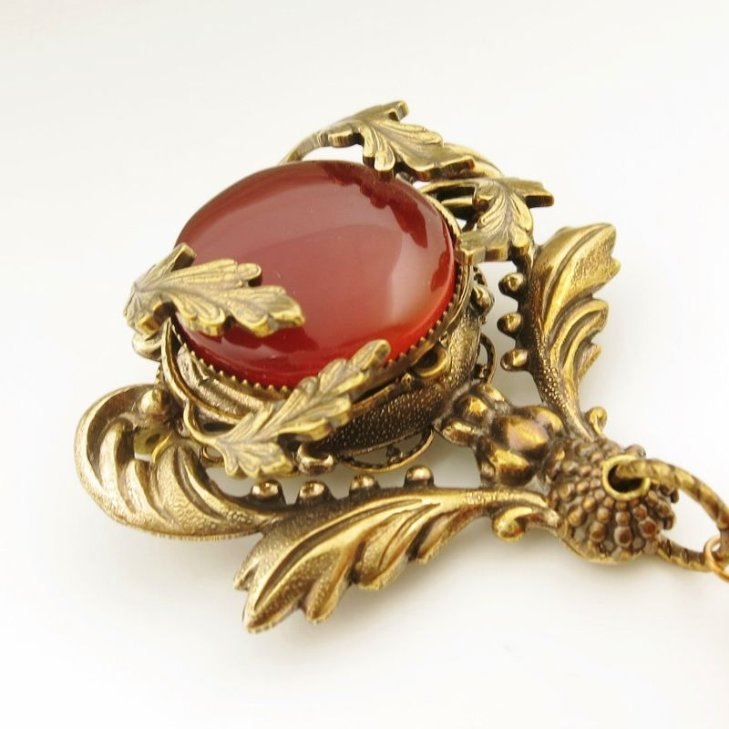Jan Michaels Crest Pin with Carnelian - product image
