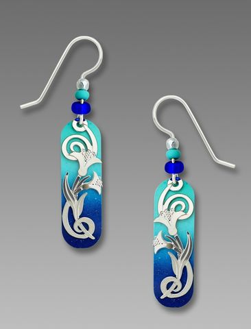 Adajio,Earrings,-,Gleaming,Aqua,to,Indigo,Capsule,with,Shiny,Silver,Tone,Floral,Overlay,Adajio Earrings, Adajio earrings Sienna Sky, Adajio Jewelry, Adajio Colorado