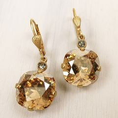 Catherine Popesco Large Crystal Earrings in Champagne - product images 1 of 4