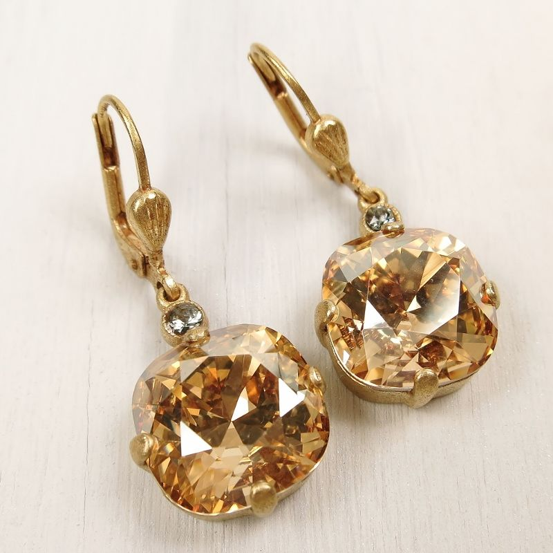 Catherine Popesco Large Crystal Earrings in Champagne - product image