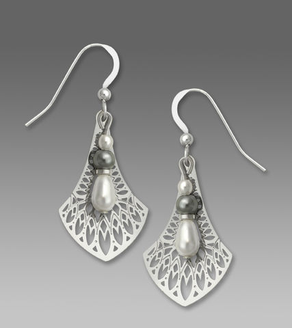 Adajio,Earrings,-,Shiny,Silver,Tone,Persian,Necktie,Filigree,with,Pearl,Bead,Drop,Adajio Earrings, Adajio earrings Sienna Sky, Etched Brass Earrings, Artisan Handmade