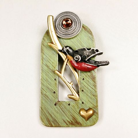 Mullanium,-,Perched,Robin,Pin,Mullanium by Jim and Tori, Mullanium Art, Mullanium pin, Mullanium Perched Robin Pin