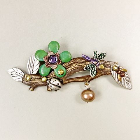 Mullanium,-,Green,Flower,on,Branch,Pin,Mullanium Pins, Mullanium by Jim and Tori, Mullanium Art