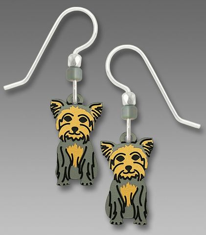 Sienna,Sky,Earrings,-,Sitting,Yorkshire,Terrier,Sienna Sky Earrings, Adajio earrings Sienna Sky, Etched Brass Earrings, Sitting Yorkshire Terrier earrings