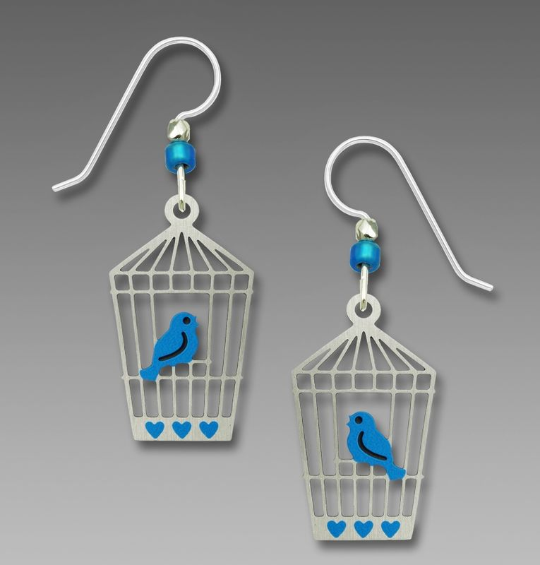 Sienna Sky Earrings - Bluebird in Open Cage - product image