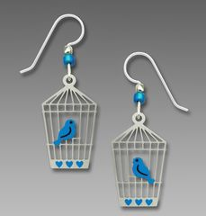 Sienna Sky Earrings - Bluebird in Open Cage - product images 1 of 4