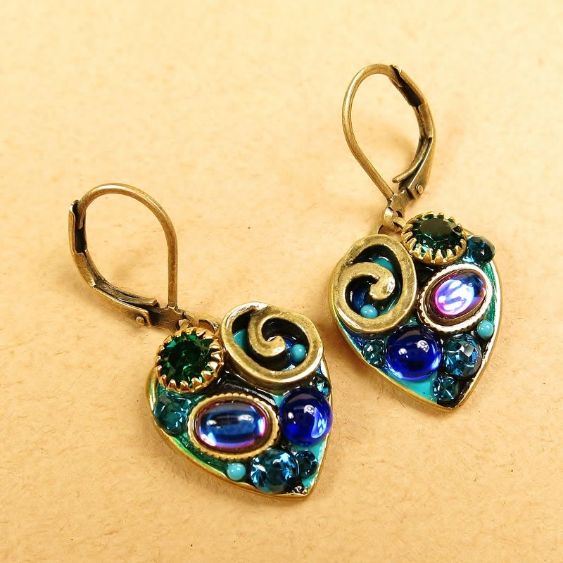 Michal Golan - Emerald Small Heart Drop Earrings - product image