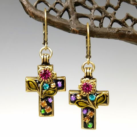 Michal,Golan,-,'Night,Garden',Small,Cross,Earrings,Michal Golan 'Night Garden' Small Cross Earrings, Michal Golan earrings