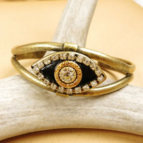 Michal,Golan,-,Swarovski,Crystals,Black,Eye,Cuff,Bracelet,Michal Golan Eye Jewelry Collection, Michal Golan bracelet, Michal Golan black eye cuff bracelet, Michal Golan Eye jewelry