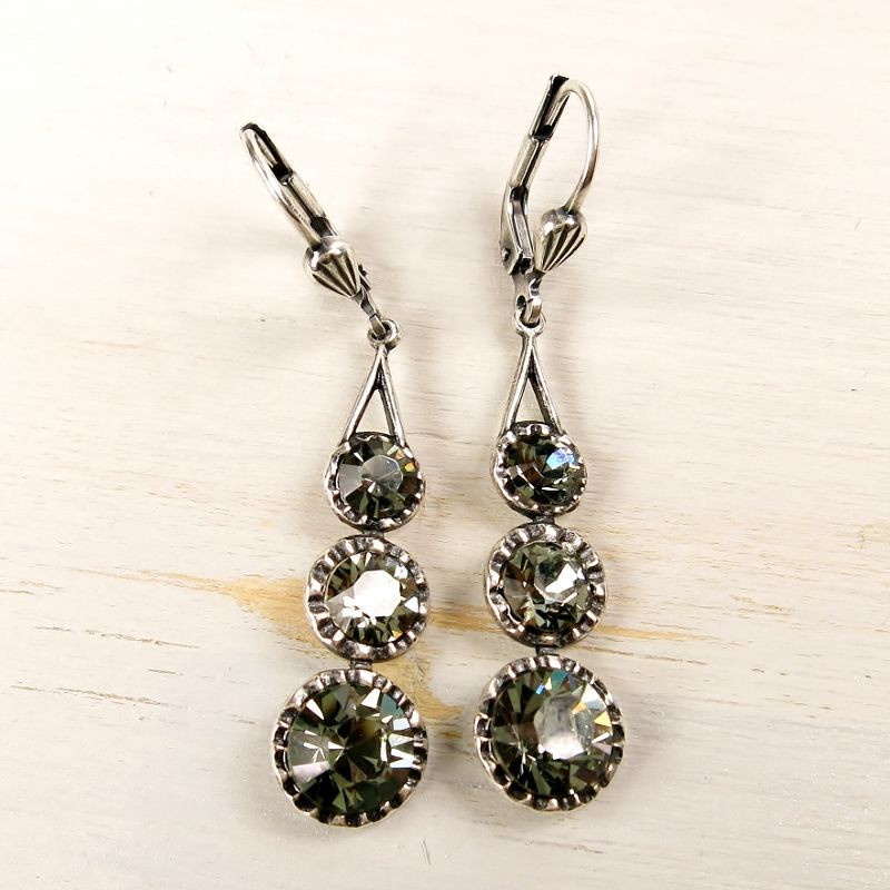Catherine Popesco Antique Silver Tone Three Crystals Linear Drop Earrings in Black Diamond - product image