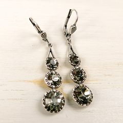 Catherine Popesco Antique Silver Tone Three Crystals Linear Drop Earrings in Black Diamond - product images 2 of 4