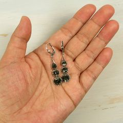 Catherine Popesco Antique Silver Tone Three Crystals Linear Drop Earrings in Black Diamond - product images 4 of 4