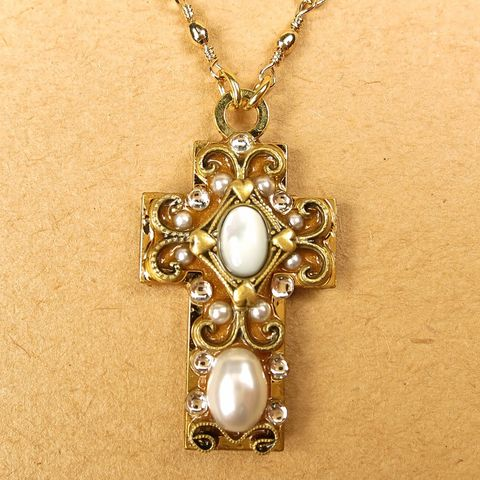 Michal,Golan,-,White,Pearl,Cross,Pendant,Necklace,Michal Golan Necklace, Michal Golan Jewelry, Michal Golan White Pearl Cross Pendant Necklace