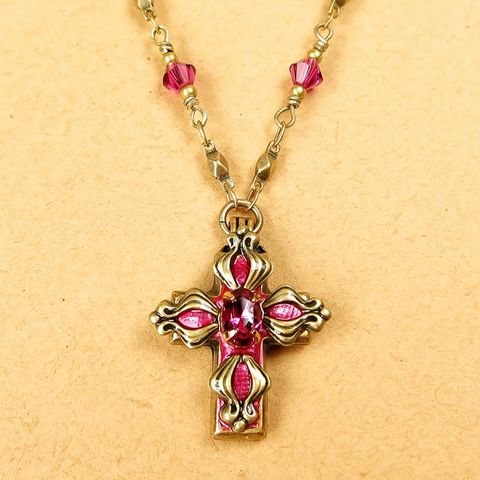 Michal,Golan,-,Small,Fuchsia,Floral,Cross,Pendant,Necklace,Michal Golan Necklace, Michal Golan Jewelry, Michal Golan Small Fuchsia Floral Cross Pendant Necklace