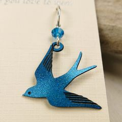 Sienna Sky Earrings - Sapphire Blue Flying Swallow - product images 3 of 5
