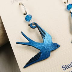 Sienna Sky Earrings - Sapphire Blue Flying Swallow - product images 4 of 5