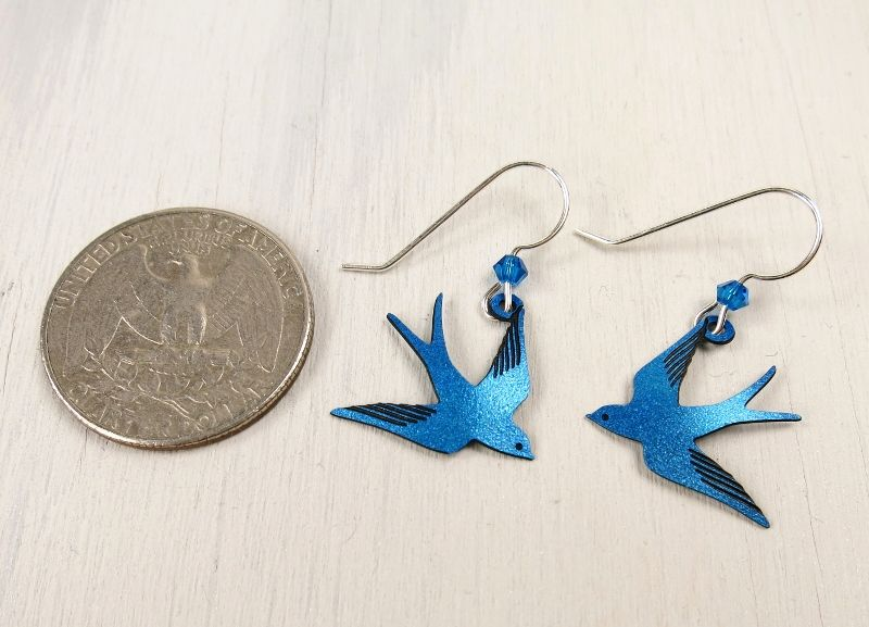 Sienna Sky Earrings - Sapphire Blue Flying Swallow - product image