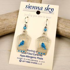 Sienna Sky Earrings - Bluebird in Open Cage - product images 2 of 4