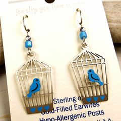 Sienna Sky Earrings - Bluebird in Open Cage - product images 3 of 4