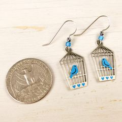 Sienna Sky Earrings - Bluebird in Open Cage - product images 4 of 4