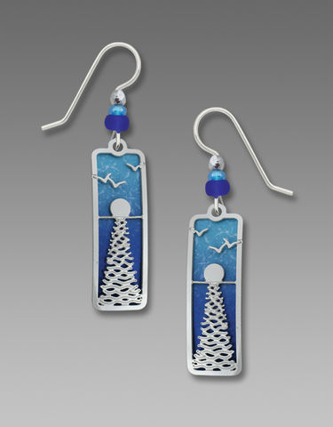 Adajio,Earrings,-,Shiny,Silver,Sun,with,Reflection,Overlay,Over,Deep,Blue,Sea,Adajio Earrings, Adajio earrings Sienna Sky, Adajio Jewelry, Adajio Colorado, Adajio Earrings 7718