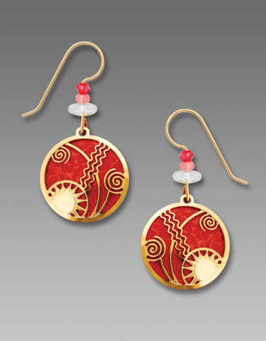 Adajio,Earrings,-,Scarlet,Red,Disc,with,Gold,Plated,'Celestial,Overlay',Adajio Earrings, Adajio earrings Sienna Sky, Adajio Jewelry, Adajio Colorado, Adajio Earrings 7730