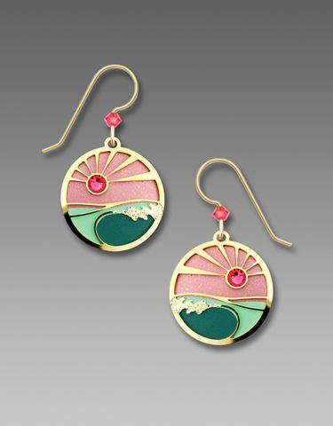 Adajio,Earrings,-,Coral,and,Turquoise,Sunset,Disc,with,Gold,Plated,Foamy,Waves,Overlay,Adajio Earrings, Adajio earrings Sienna Sky, Adajio Jewelry, Adajio Colorado, Adajio 7744