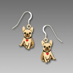 Sienna Sky Earrings - Bulldog Puppy with Heart Collar - product images 1 of 4