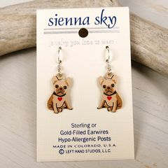 Sienna Sky Earrings - Bulldog Puppy with Heart Collar - product images 2 of 4