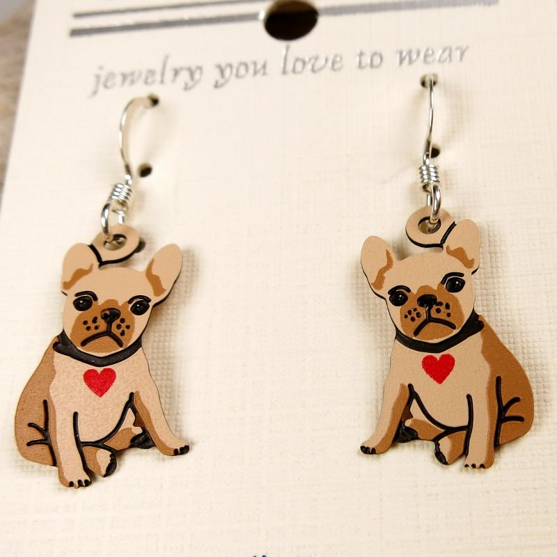 Sienna Sky Earrings - Bulldog Puppy with Heart Collar - product image