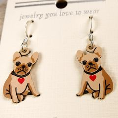 Sienna Sky Earrings - Bulldog Puppy with Heart Collar - product images 3 of 4